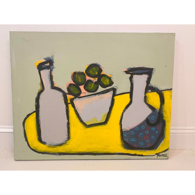 "2020s Abstract Still Life ""Limes With Polka Dot Pitcher"" by Sarah Trundle For Sale - Image 5 of 6"