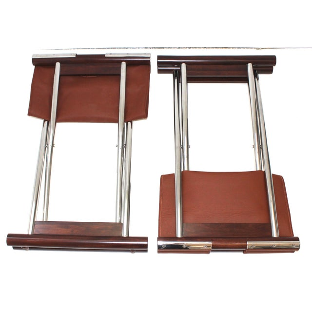 Vintage Folding X-Sling Stools in Leather, Stainless Steel and Mahogany a Pair For Sale - Image 11 of 13