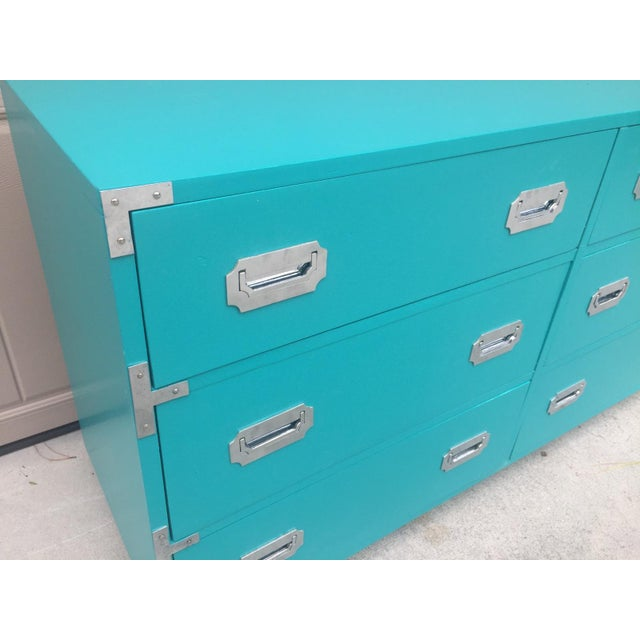 Dixie Furniture Co. Vintage Dixie Turquoise Painted Campaign Dresser For Sale - Image 4 of 10
