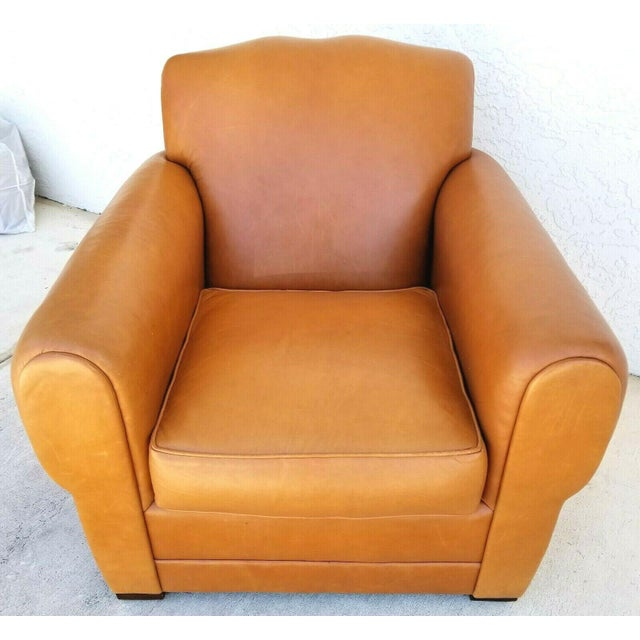 Mid-Century Modern MCM Ralph Lauren Genuine Leather Club Lounge Armchair For Sale - Image 3 of 12