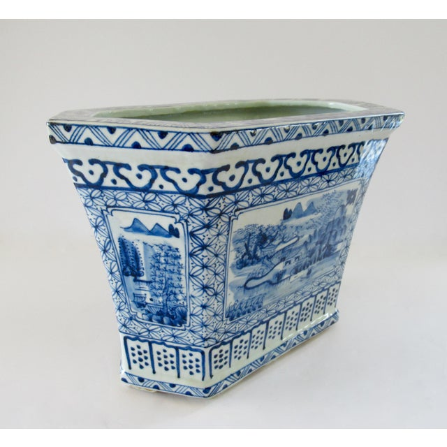 Chinoiserie Blue & White Hexagonal Jardiniere For Sale - Image 12 of 13