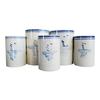 Vintage Chinoiserie Pottery Vases/Vessels, 5 Pieces For Sale