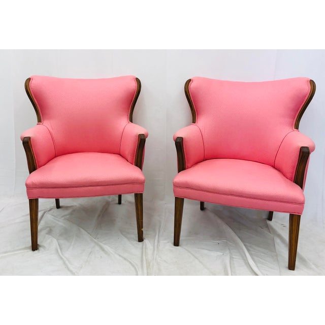 Hollywood Regency Pair Vintage Mid Century Modern Arm Chairs With Pink Upholstery For Sale - Image 3 of 10
