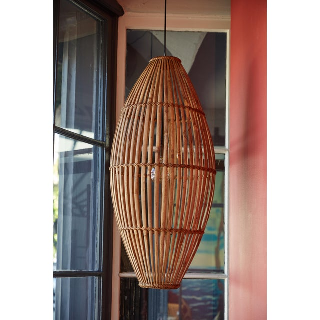 Contemporary Rattan Hanging Pendant Lamp For Sale - Image 3 of 9