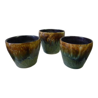 20th Century Art Deco McCoy Brown Pottery Planters - Set of 3