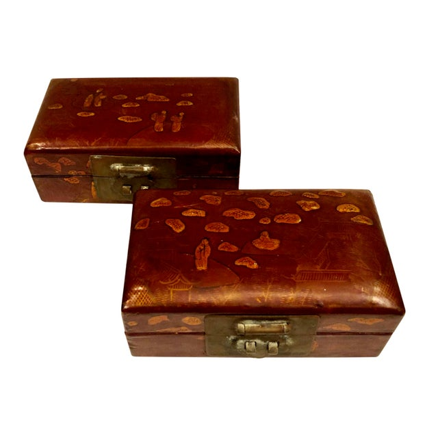 Brown Early 19th Century Chinese Boxes With Oriental Figures - a Pair For Sale - Image 8 of 8