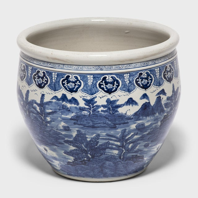 """""""Shan Shui"""" Blue and White Fish Bowl For Sale - Image 4 of 6"""