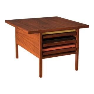 Vintage Brown Saltman Walnut Nesting Side Table - 4 Pieces For Sale