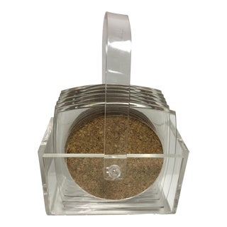 Basket of Lucite Cork Coasters - Set of 6
