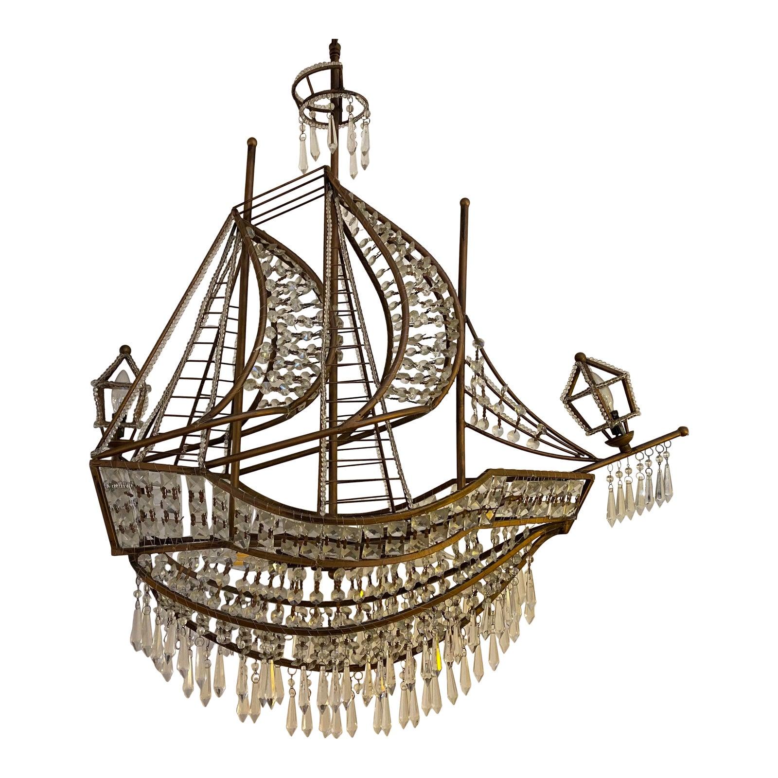 Z Gallerie Crystal Ship Chandelier   Chairish