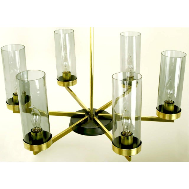 Brass and Black Lacquer Six-Light Chandelier with Hurricane Shades For Sale - Image 4 of 8