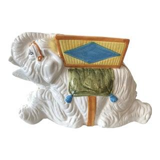 1960s Vintage Italian Glazed Garden Stool Planter Elephant For Sale