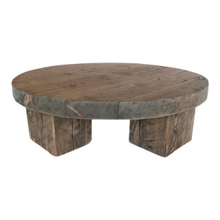 Round Rustic Modern Wood Low Coffee Table For Sale