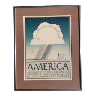 "1970s Limited Edition David Lance Goines Art Poster ""America "" For Sale"