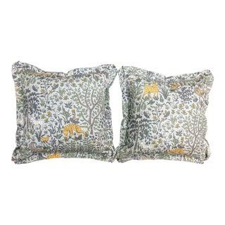 Folk Art Robert Allen Folkland in Aquatint Pillows - a Pair For Sale