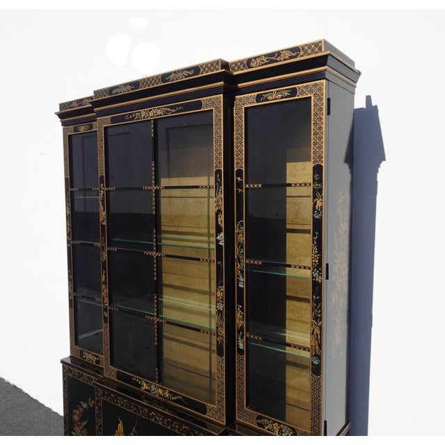 Wood Vintage Drexel Oriental Asian Chippendale Chinoiserie Black China Cabinet Hutch For Sale - Image 7 of 13