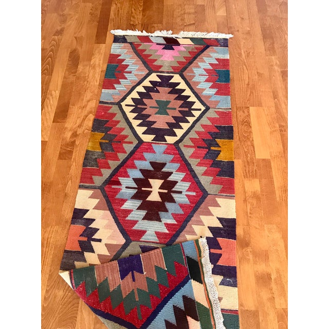 "Vintage Turkish Kilim -2'2"" 6'3"" For Sale - Image 10 of 11"