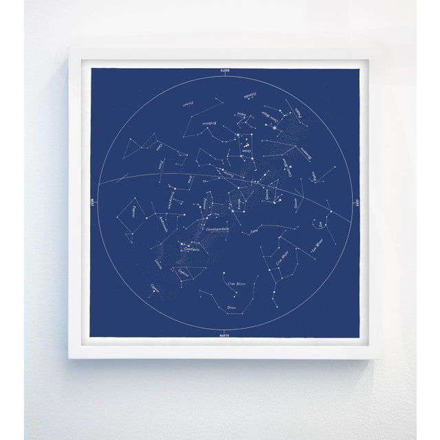 Square Vintage Minimal Star Map With Constellations For Sale - Image 4 of 5