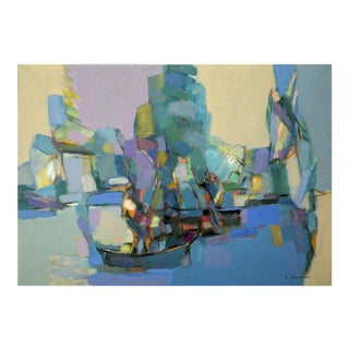 20th Century Abstract Original Oil Painting of Sailboats by Jean Chevolleau