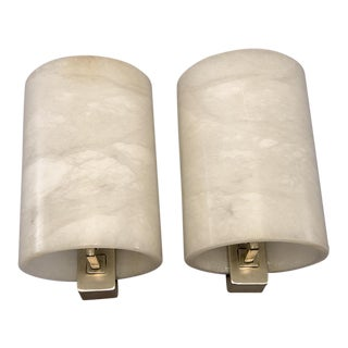 Pair Large Italian Hand Carved Alabaster Sconces For Sale