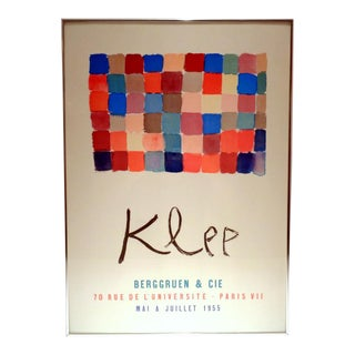 "Vintage Paul Klee ""Color Squares"" Framed Paris Reproduction Exhibition Poster For Sale"
