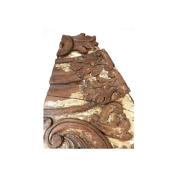 Shabby Chic 18th-C. Architectural Wood Wall Hanging For Sale - Image 3 of 7