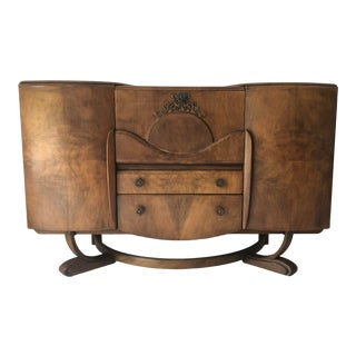 Antique Hollywood Regency Bar/Server Walnut 55x21x35 For Sale