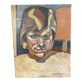 1960's Orginal Signed Abstract Portrait For Sale