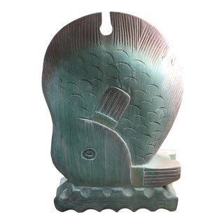 Vintage Wood Abstract Fish Carving For Sale