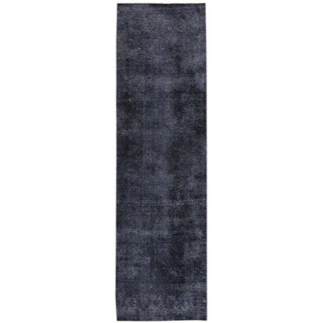 "Apadana - Vintage Overdyed Rug, 3'1"" x 11'2"" For Sale - Image 4 of 4"