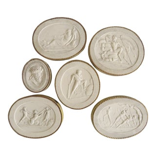 19th Century Italian Plaster Intaglio Reliefs by John Tyrell - Set of 6 For Sale