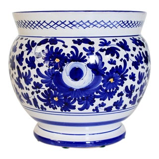 Blue & White Italian Planter For Sale