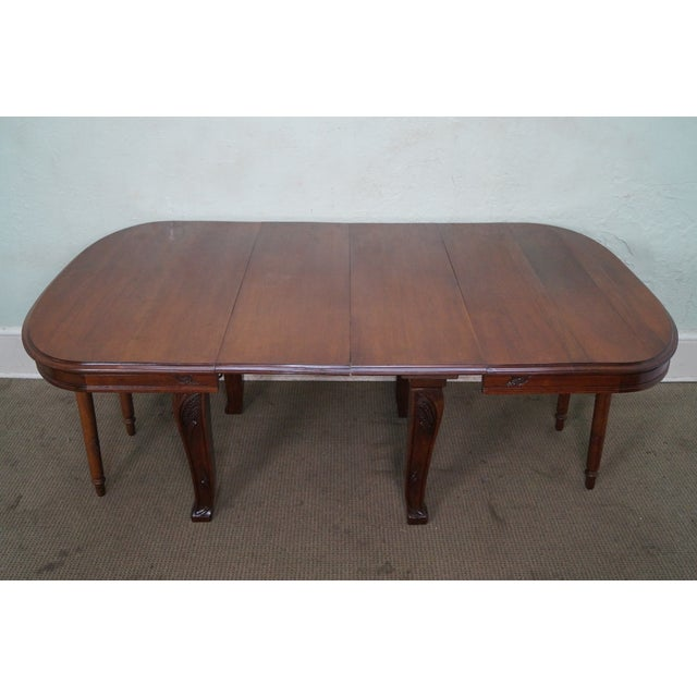 French Country Antique French Art Nouveau Walnut Dining Table For Sale - Image 3 of 10