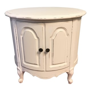Vintage French Country Drum End Table
