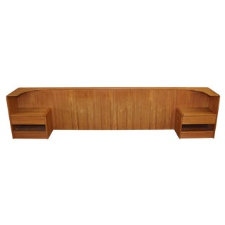 Danish Teak King Size Headboard With Night Stands by Vinde Møbelfabrik For Sale