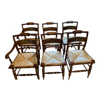 L. Hitchcock Slat Back Chairs - Set of 6 For Sale