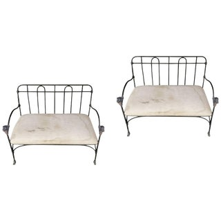 Pair of Outdoor, Indoor J-Art Iron Co Settees With Lion Heads For Sale