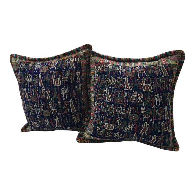 Original Guatemalan Teextile Cushion Cases in Navy Blue a Pair For Sale
