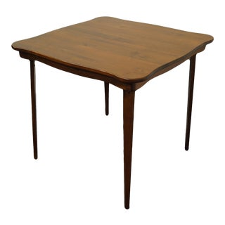 Vintage Stakmore Furniture Walnut Square Folding Card Game Table For Sale