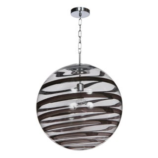 Murano Glass Globe Pendants With Black Swirl Accent For Sale