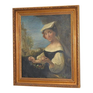 Italian School Portrait of Young Woman Threading Flowers 18th to 19th C. For Sale