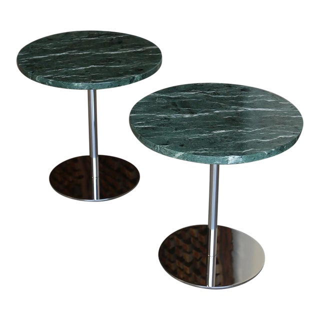 Marble & Stainless Steel Side Tables - a Pair For Sale