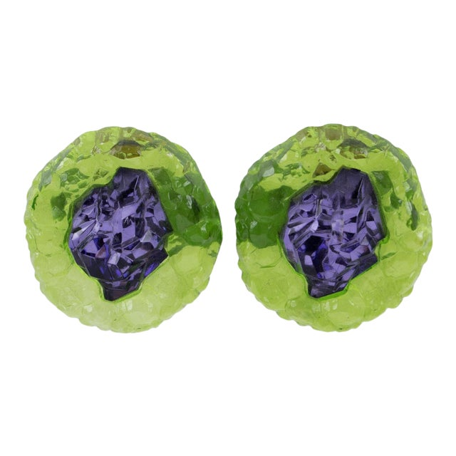 Oversized Italian Luminous Green and Purple Rock Lucite Clip on Earrings For Sale