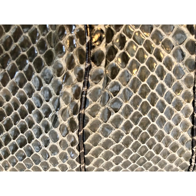 Silver Vintage Judith Leiber Grey Python Clutch With Frog Charm Detail For Sale - Image 8 of 11