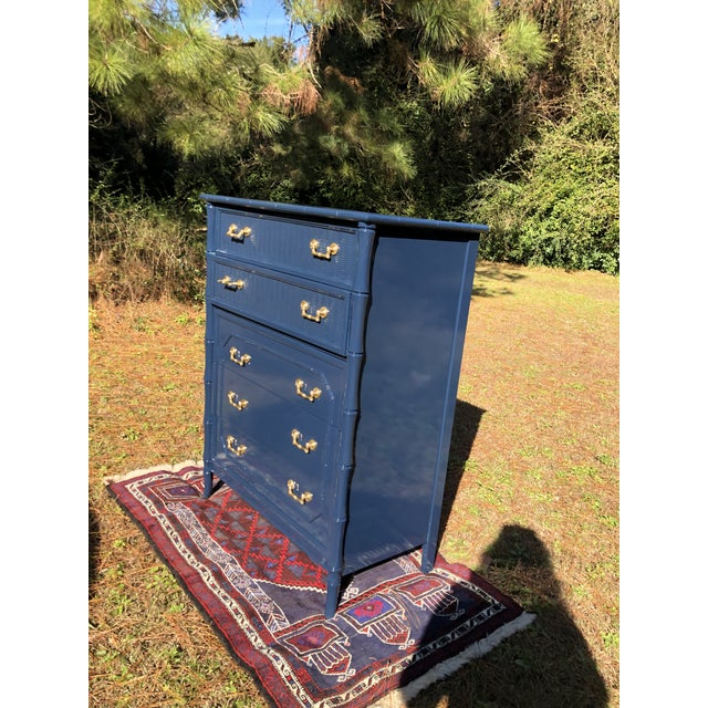1970s Lacquered Faux Bamboo Broyhill Dresser For Sale - Image 11 of 13