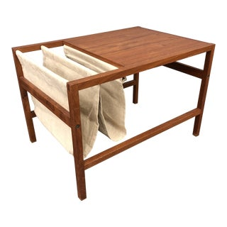 Kai Kristiansen Danish Modern Teak and Canvas Double Magazine Rack For Sale