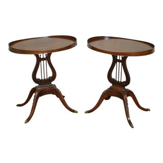 1940s Mersman Mahogany Oval Lyre Base Side Tables