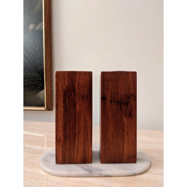 Contemporary Organic Modernist Minimalist Wood Block Tealights, a Pair For Sale - Image 3 of 10