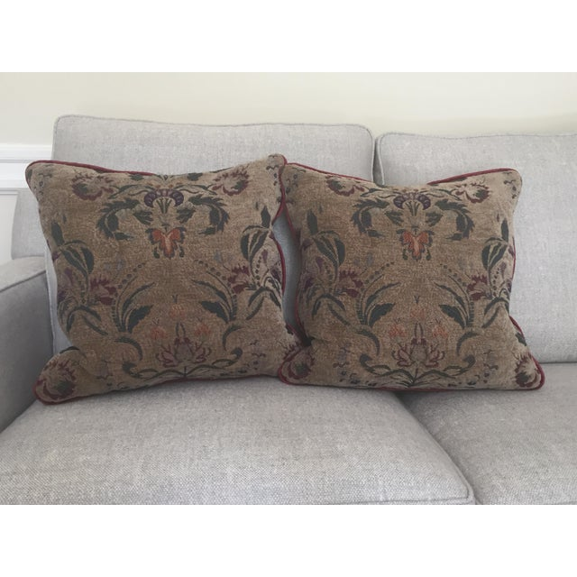 Burgundy Tapestry Goose Filled Pillows - A Pair - Image 4 of 4
