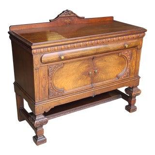 Antique English Jacobean Tudor Carved Dining Room Elizabethan Carved Walnut Server C1900 For Sale